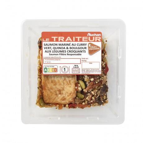 - Saumon mariné curry vert quinoa et légumes croquants