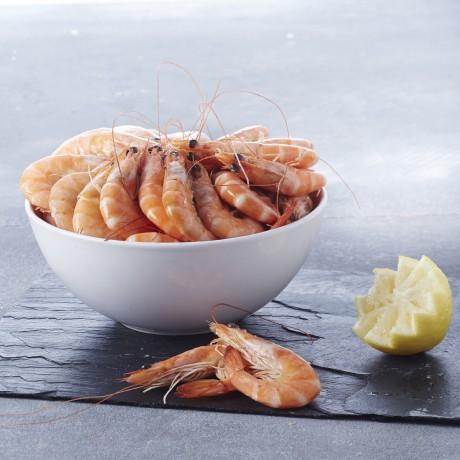 - Crevettes entières cuites calibre 60/80