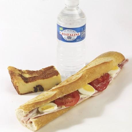 -Formule jambon oeuf tomate Sandwich baguette + boisson + dessert