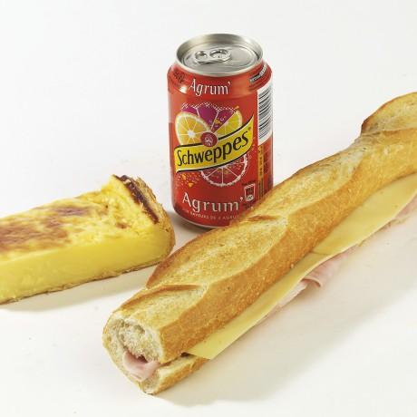 -Formule jambon emmental Sandwich baguette + boisson + dessert